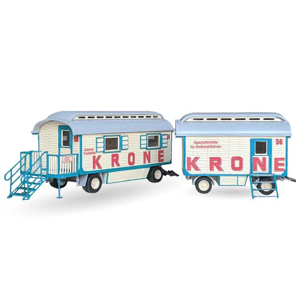 Circus Krone Toilettenwagen Nr. 55 und 56 Set - Bausatz 1:87