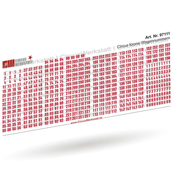 Circus Krone Wagennummern - Decal/ Nassschieber Set 1:87